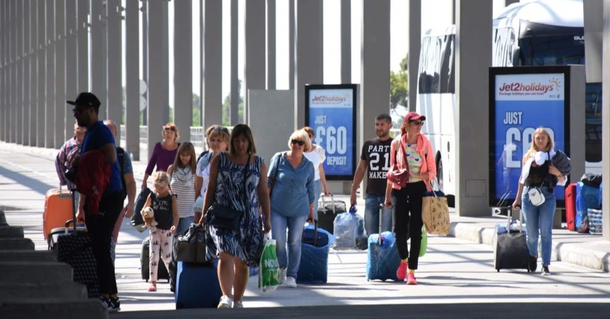 British tourists arrive at Dalaman Airport in the southwestern province of Mu?la, Sept. 25, 2019. (AA Photo)