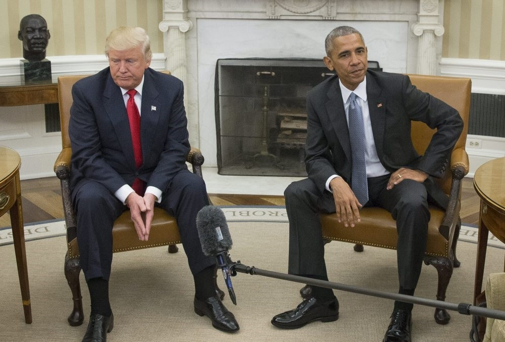 Then President-elect Donald Trump (L) meets with then President Barack Obama in the Oval Office of the White House in Washington, D.C., Nov. 10. 2016.