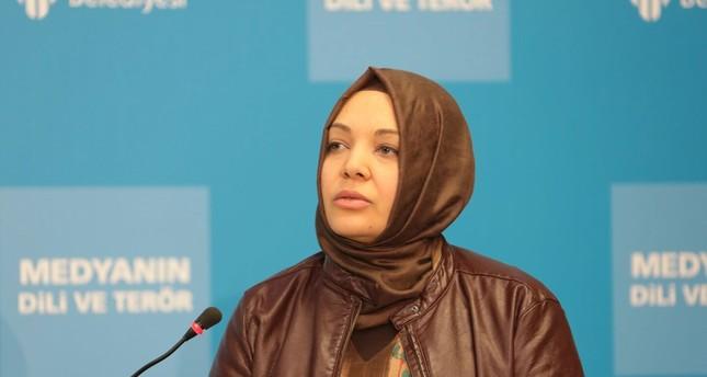 Journalist Hilal Kaplan speaks at a panel on media's effect on terrorist activities in Istanbul, Turkey. (Sabah Photo)