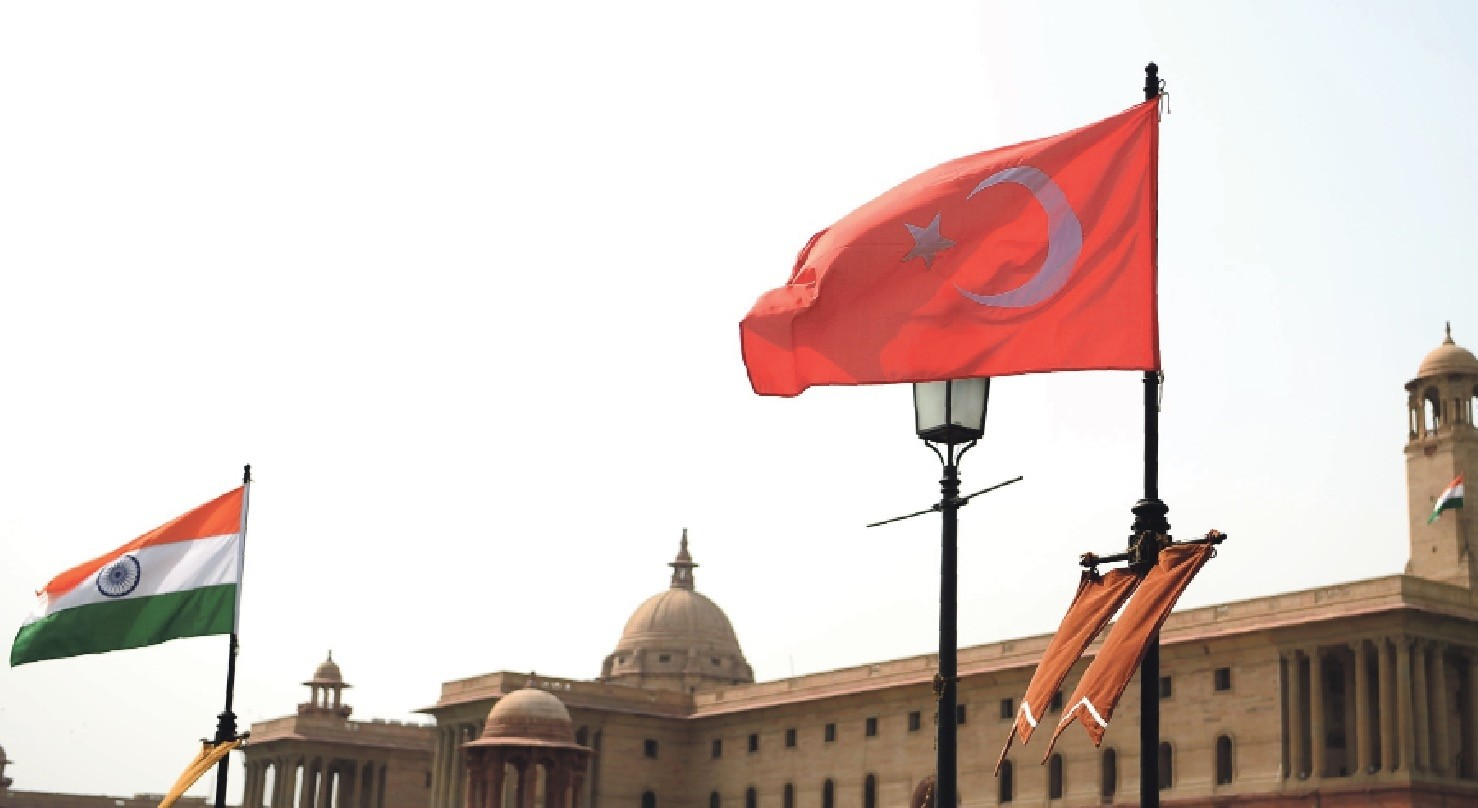 The national flags of Turkey and India seen flying in Rajpath ahead of an official visit by President Erdou011fan as part of Ankara's recent agenda to reform its foreign policies,  New Delhi, April 30.