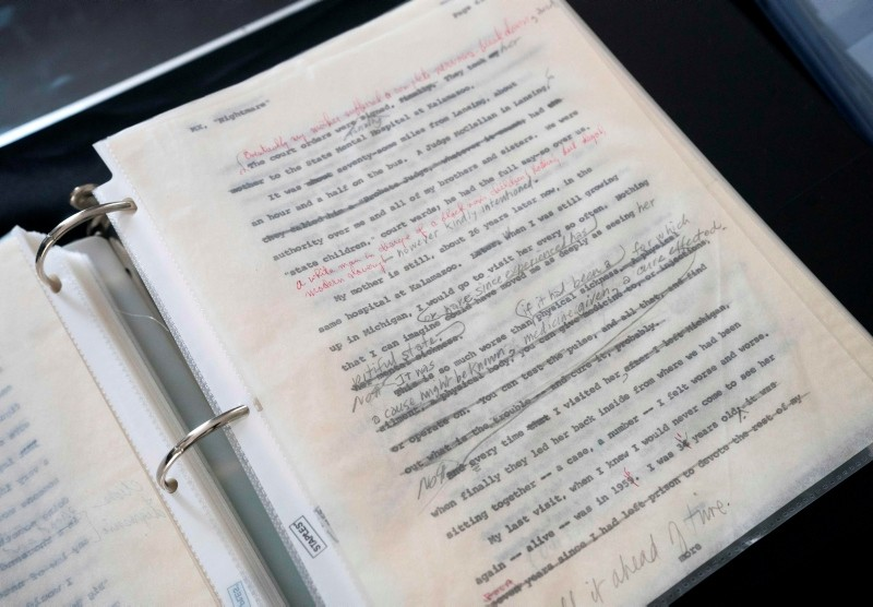 Malcolm X Manuscripts are on display by Guernsey's action house in New York, July 24, 2018. (AFP Photo)