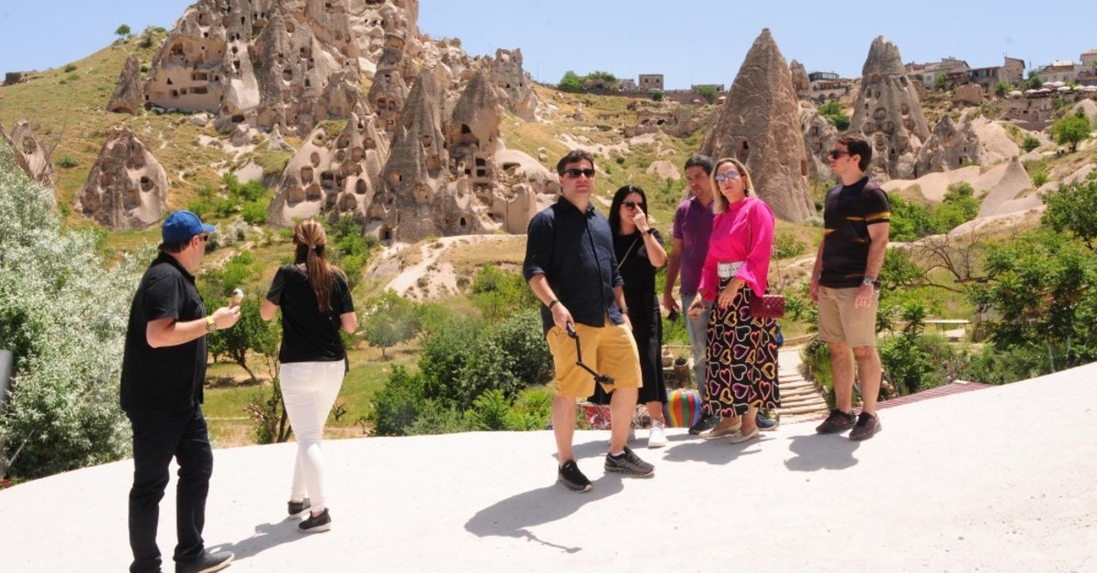 Tourists in Cappadocia, one of the Turkey's top tourist destinations.