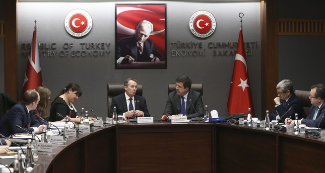 British Trade Minister Fox (C-L) met with Economy Minister Zeybekci (C-R), Ankara, Jan. 12.