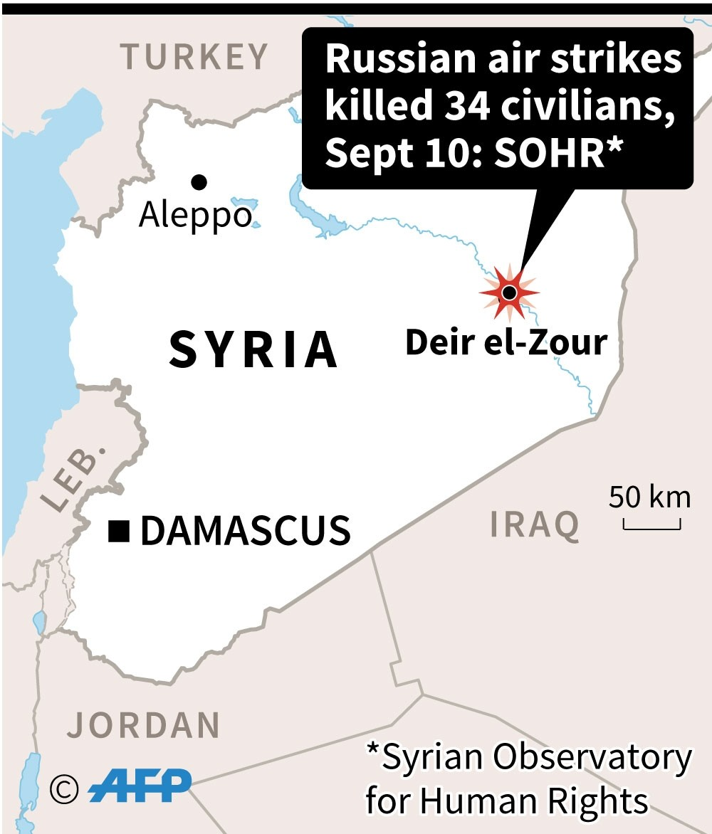 Map locating the Syrian city of Deir el-Zour, hit by deadly air strikes. (AFP Illustration)