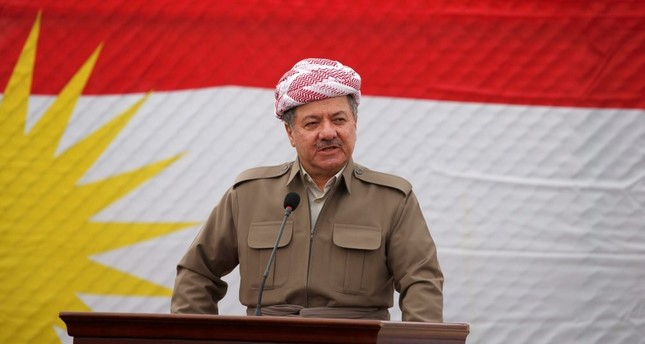 KRG President Masoud Barzani speaks to the media during his visit to the town of Bashiqa after it was recaptured from Daesh, Nov. 16, 2016.