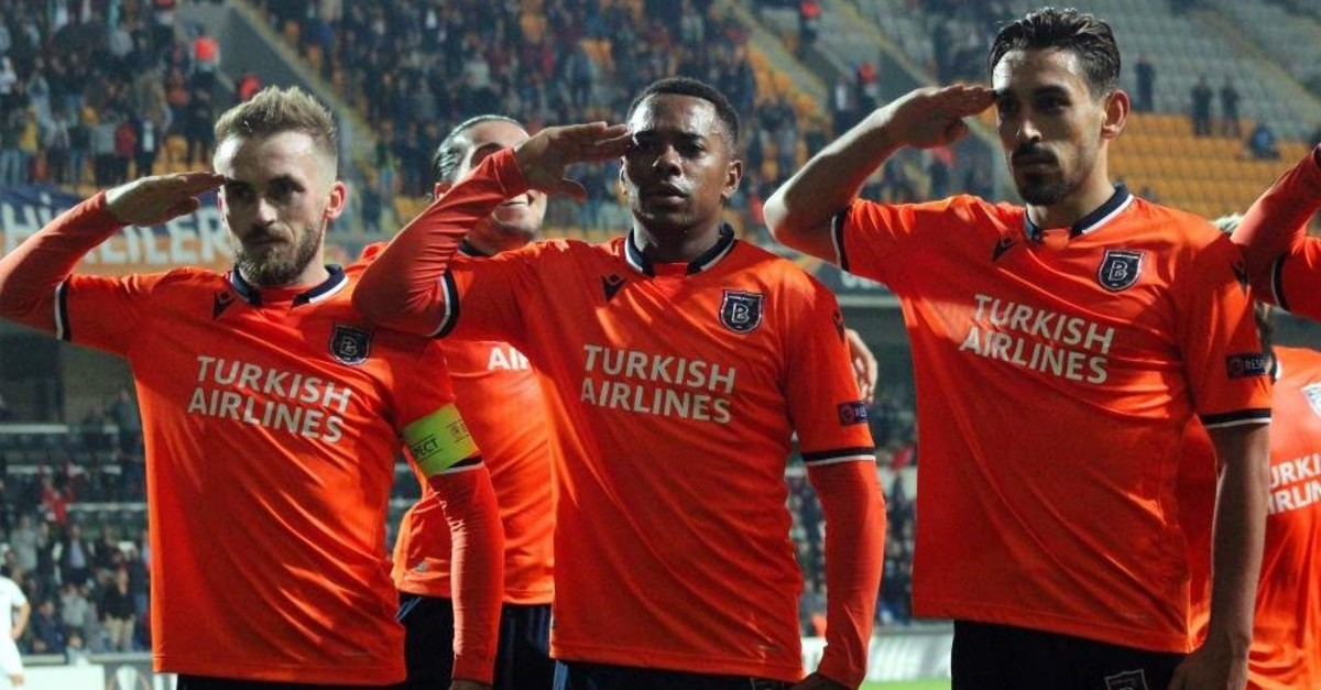 Medipol Bau015faku015fehir players give a military salute after a goal by Irfan Can Kahveci against Wolfsberger, Istanbul, Oct. 24, 2019. (IHA Photo)