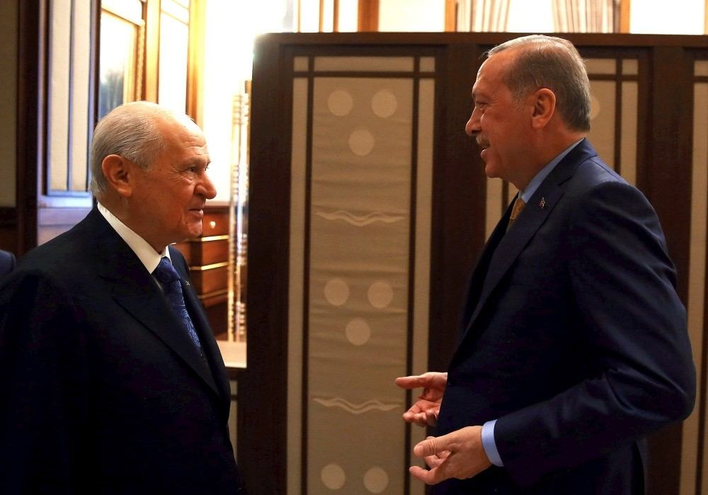 MHP Chairman Devlet Bahu00e7eli (L) announced Monday that his party would not nominate a candidate and instead support President Recep Tayyip Erdou011fan's re-election, which became the first step toward a political alliance for 2019 presidential elections