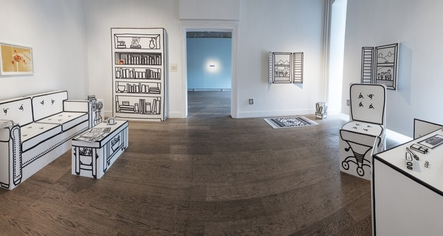 Sunday Morning, a room in Galerist, works seen include Home Office by Saara Untracht-Oakner (2018, wood, marker, paint, objects of variable dimensions) and Untitled by Ulaş & Merve (2018, print, 40 x 60 cm), among others.
