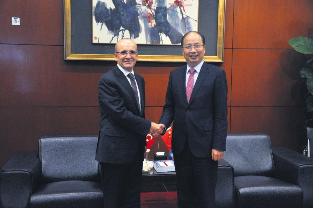 Deputy Prime Minister Mehmet u015eimu015fek (L) met ICBC Chair Yi Huiman during his official visit to the China.