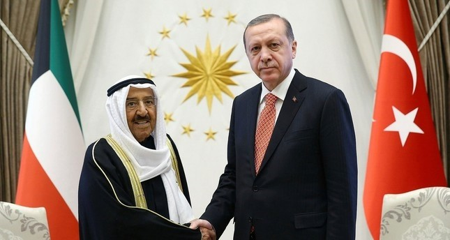 Kuwait's Emir Sheikh Sabah Al Ahmed Al Sabah, left, and President Recep Tayyip Erdoğan shake hands before a meeting in Ankara, Turkey, Tuesday, March 21, 2017.