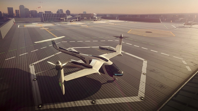 This computer generated image provided by Uber Technologies on Wednesday, Nov. 8, 2017 shows a flying taxi by Uber. (AP Photo)