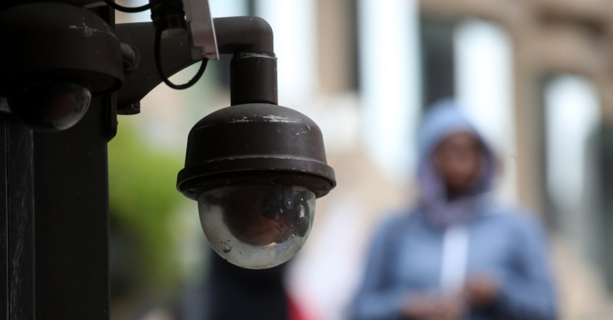 This photo taken Tuesday, May 7, 2019, shows a security camera in the Financial District of San Francisco. (AFP Photo)