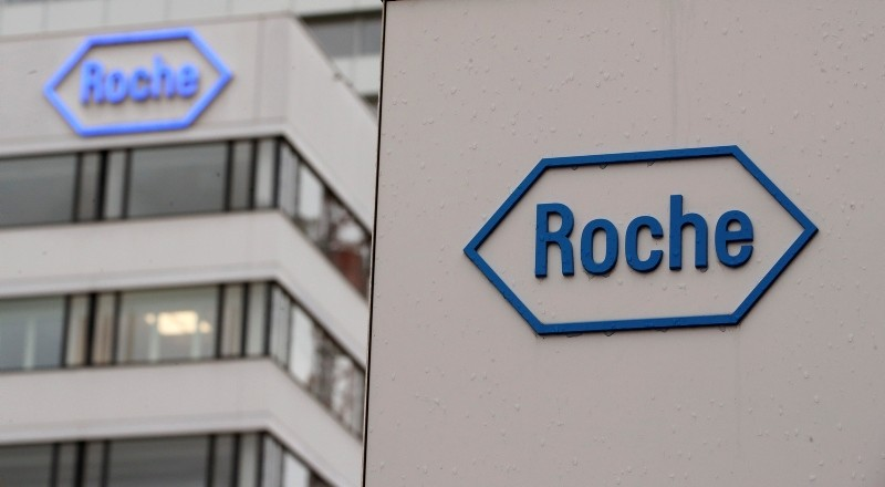 The logo of Swiss drug maker Roche is seen at its headquarters in Basel, Switzerland February 1, 2018. (Reuters Photo)