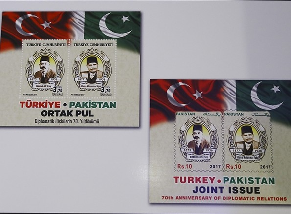 Turkey and Pakistan jointly issued a stamp commemorating 70 years of diplomatic ties (AA Photo)