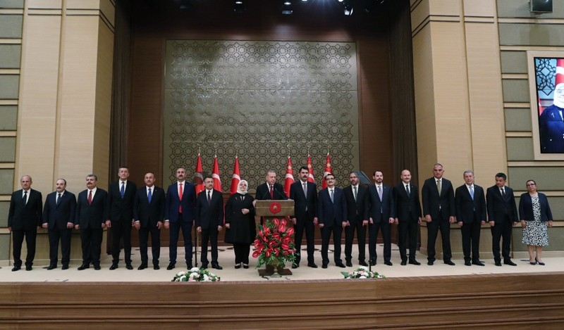 President Recep Tayyip Erdou011fan presents the members of his new cabinet at the presidential complex in Ankara on July 9, 2018. (DHA Photo)
