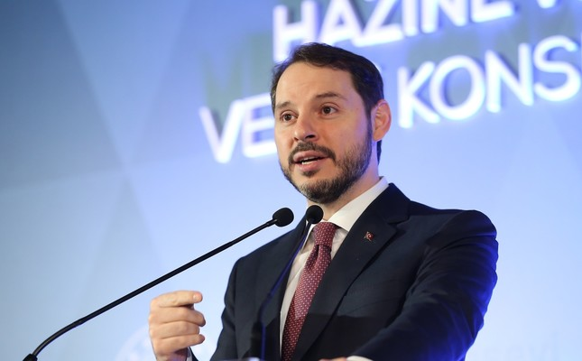Treasury and Finance Minister Berat Albayrak delivers a speech at the 134th Tax Council Meeting in Istanbul, Feb. 27, 2019.