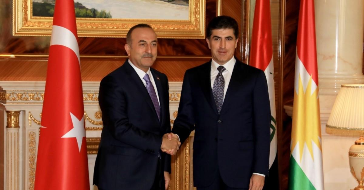 Foreign Minister Mevlu00fct u00c7avuu015fou011flu met KRG Prime Minister Nechirvan Barzani in Irbil, April 29, 2019.