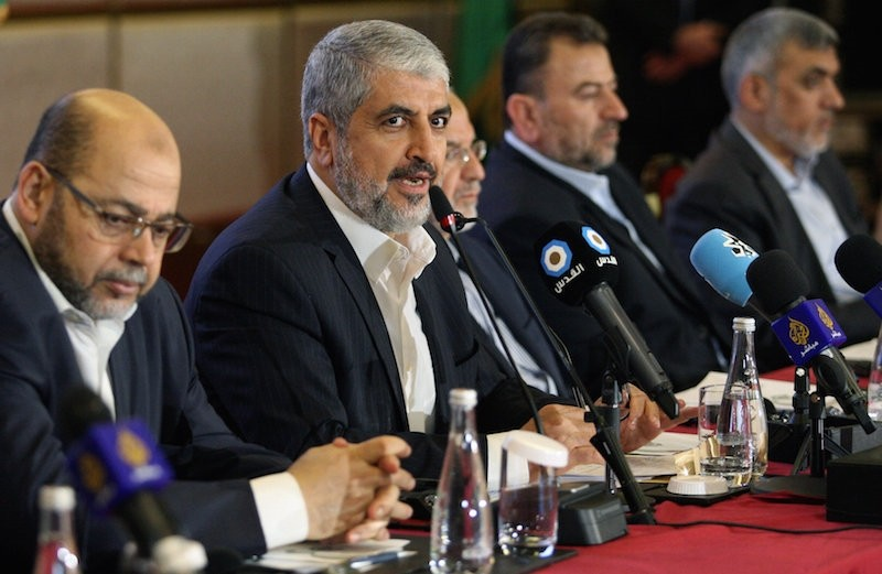 Hamas leader Khaled Meshaal gestures as he announces a new policy document in Doha, Qatar, May 1, 2017.  Reuters Photo