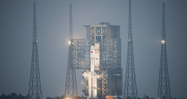 A Long March 7 orbital launch vehicle carrying China's cargo spacecraft Tianzhou-1 is seen at its launch pad at the Wenchang Space Launch Centre before it's scheduled launch in Wenchang (AFP Photo)