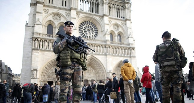 An armed French soldier patrols in front of Notre Dame Cathedral in Paris (Reuters File Photo)