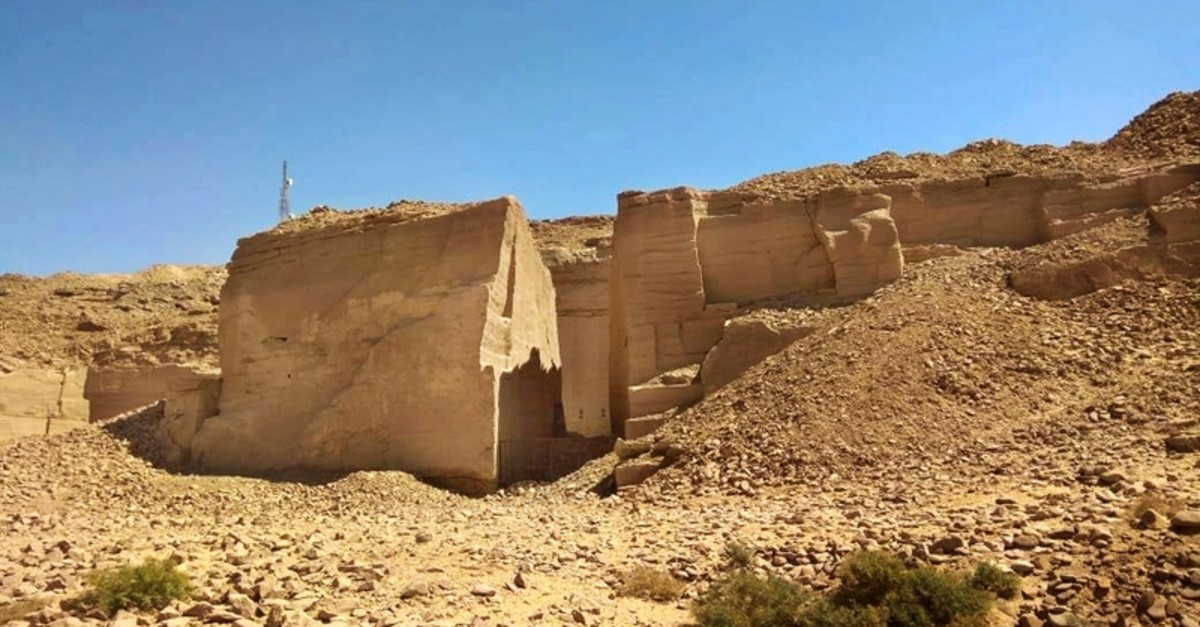This undated photo released by the Egyptian Ministry of Antiquities, shows part of a quarry where stones were transported from a 3,000-year-old port to be used in the building of temples and obelisk, in Gebel el-Silsila, Aswan, Egypt (AP Photo)