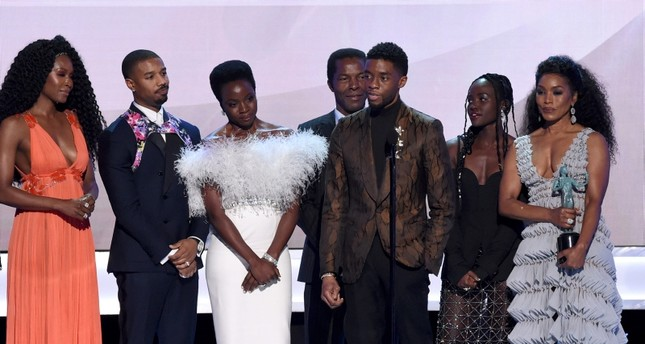 Cast of Black Panther, accept the award for outstanding performance by a cast in a motion picture at the 25th annual Screen Actors Guild Award, Jan. 27, 2019, Los Angeles. (AP Photo)