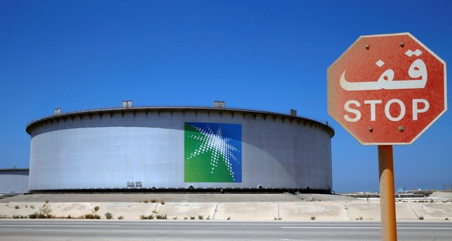 An Aramco tank is seen at Saudi Aramco's Ras Tanura oil refinery and oil terminal in Saudi Arabia.