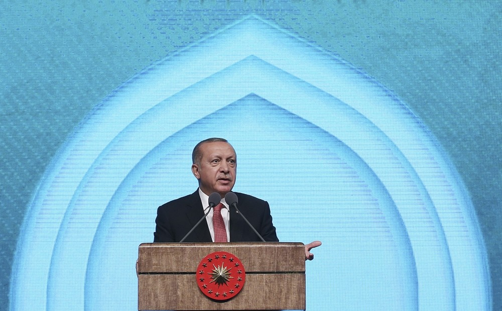 President Recep Tayyip Erdou011fan delivers a speech at a ceremony in Ankara, Oct. 4.
