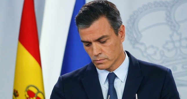 Spain's acting Prime Minister Pedro Sanchez holds a news conference at the Moncloa Palace after a meeting with King Felipe in Madrid, Spain, September 17, 2019. Reuters Photo