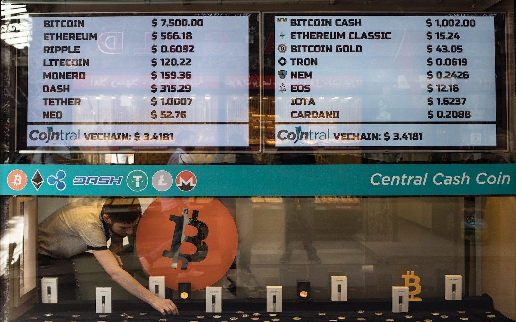 A man works in the first official Bitcoin exchange office in the Grand Bazaar, Istanbul, May 30.