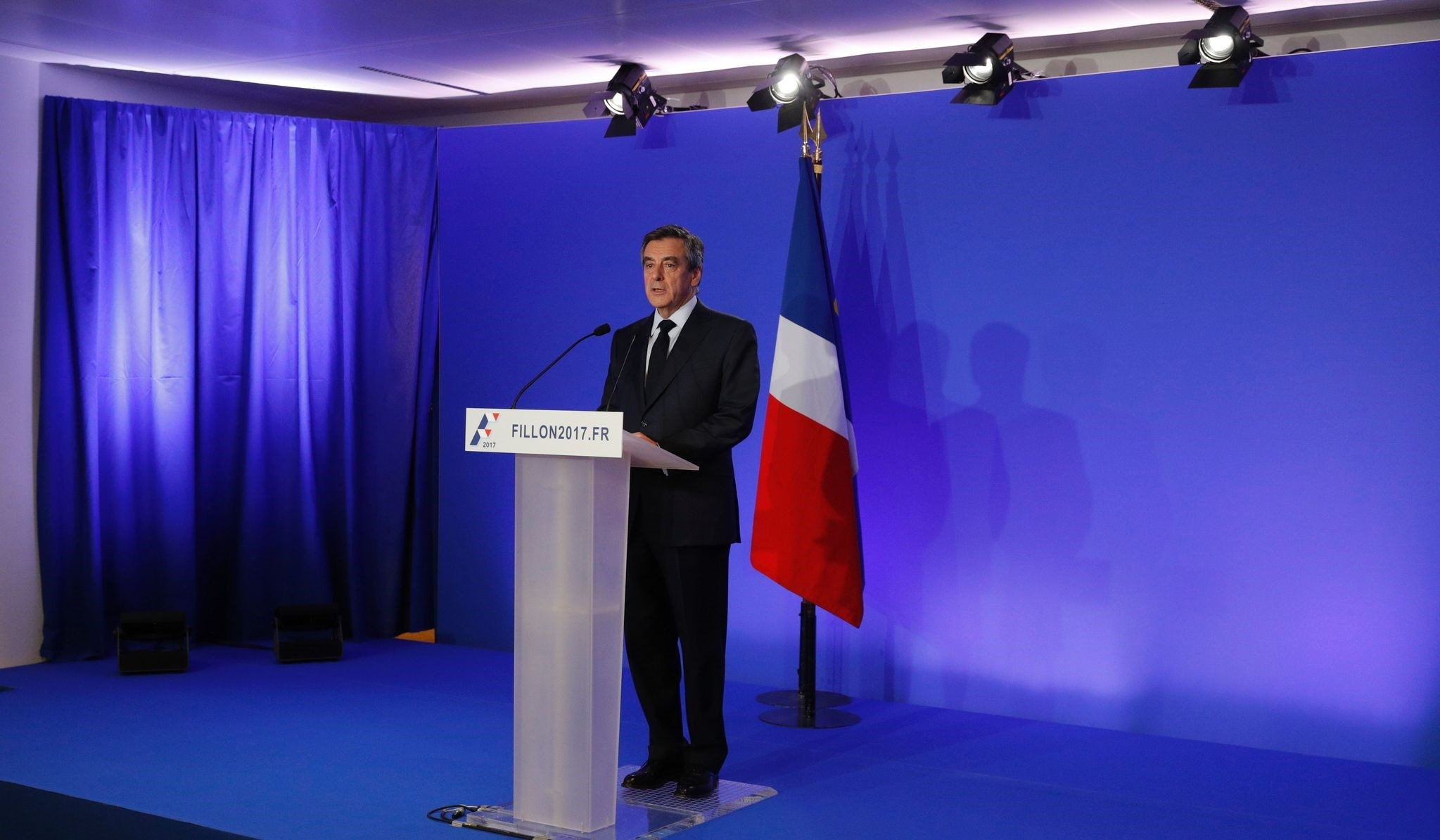 Francois Fillon speaks during a press conference focused on ,fake job, allegations, on February 6, 2017. (AFP Photo)