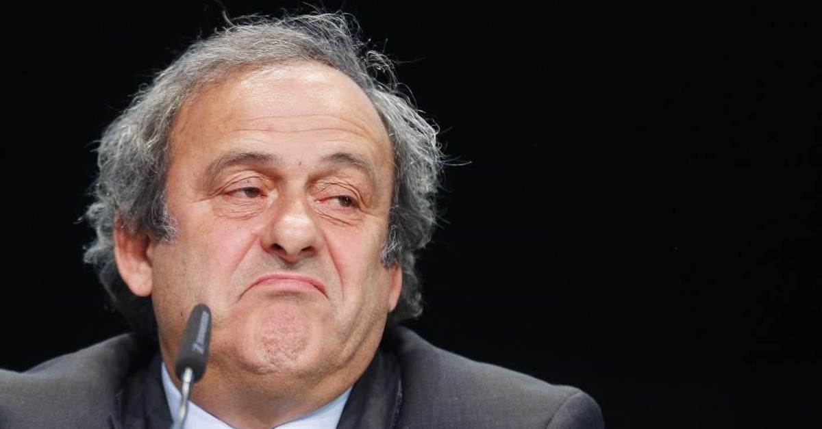 FILE - in This May 28, 2015 file photo Michel Platini grimaces during a press conference following a meeting of the UEFA board, Zurich, May 28, 2015. (AP Photo)