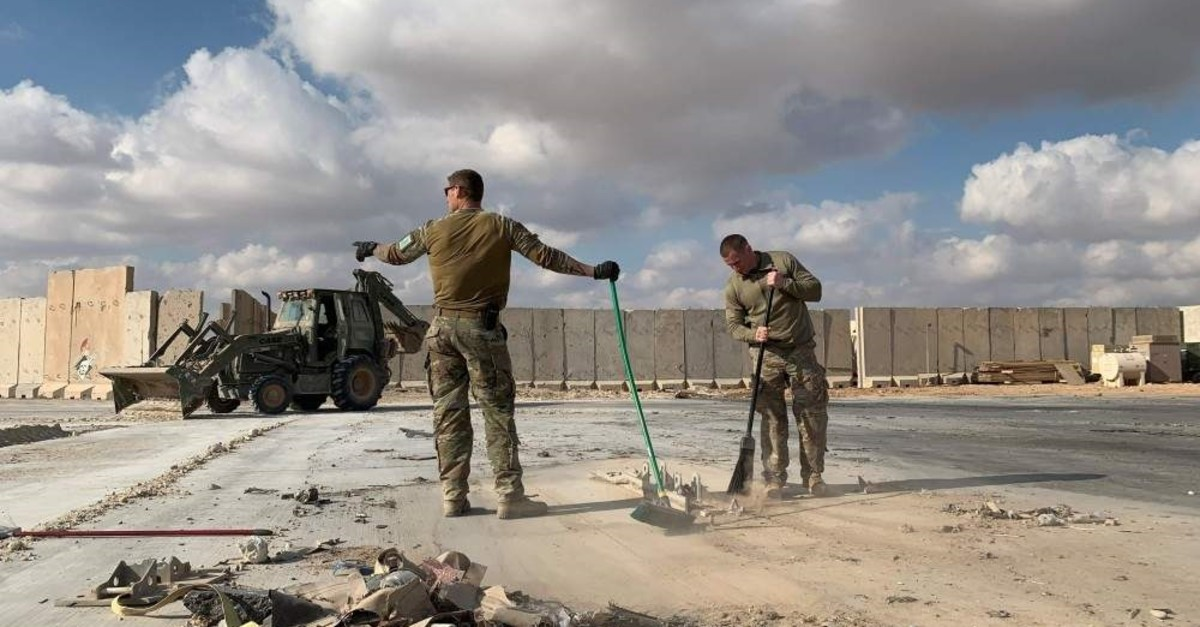 U.S. soldiers clears rubble at Ain al-Asad military airbase in the western Iraqi province of Anbar, Jan. 13, 2020. (AFP Photo)