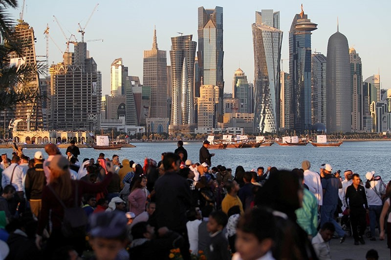People take part in Qatar's National Day celebrations in Doha, Qatar, Dec. 18, 2017. (Reuters Photo)