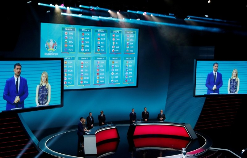 The qualifying groups are shown on the video screen during the UEFA Euro 2020 European soccer championship qualifying draw at the Convention Centre in Dublin, Ireland, Sunday, Dec. 2, 2018. (Reuters Photo)
