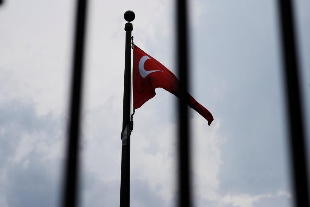 The Turkish flag flies at the Embassy of Turkey, Washington, Aug. 6.
