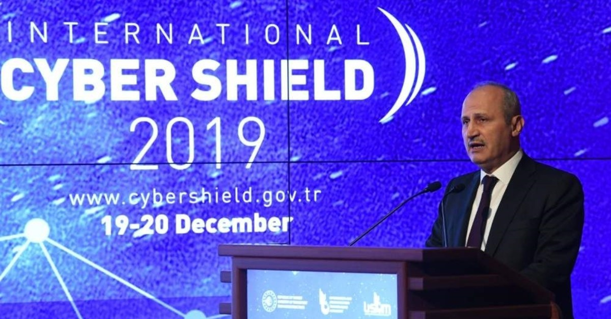 Minister of Transportation and Infrastructure Cahit Turhan speaks at the opening ceremony for the exercise, Ankara, Dec. 19, 2019. (DHA Photo)
