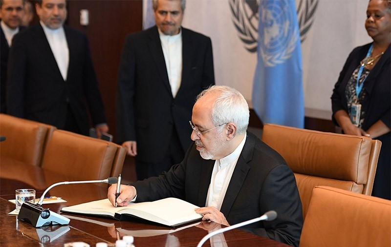 Javad Zarif, Minister for Foreign Affairs, Islamic Republic of Iran meets with United Nations Secretary-General Antu00f3nio Guterres on July 17, 2017 at the United Nations Headquarters in New York (AFP File Photo)