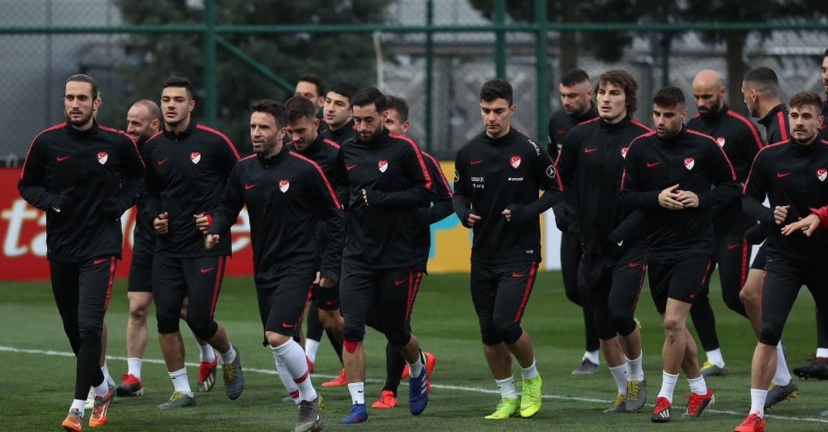 National team in a training session at the Football Federation's training grounds in Istanbul, March 20, 2019.