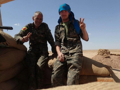 Miroslav Farkas stands next to another YPG terrorist. (Sabah File Photo)