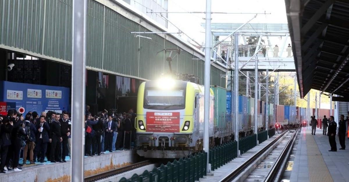China Express Railway freight train was hailed and sent off to its final destination to Prague, Ankara, Nov. 6, 2019. (AA Photo)