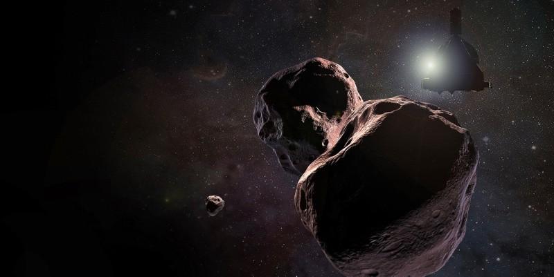 A handout photo by NASA shows an artist's impression of NASA's New Horizons spacecraft encountering 2014 MU69, nicknamed Ultima Thule, a Kuiper Belt object that orbits the Sun 1 billion miles (1.6 billion kilometers) beyond Pluto. (EPA Photo)