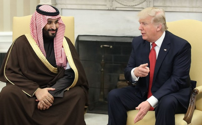 U.S. President Donald Trump (R) meets with Mohammed bin Salman in the Oval Office at the White House, Washington D.C., March 14, 2017.