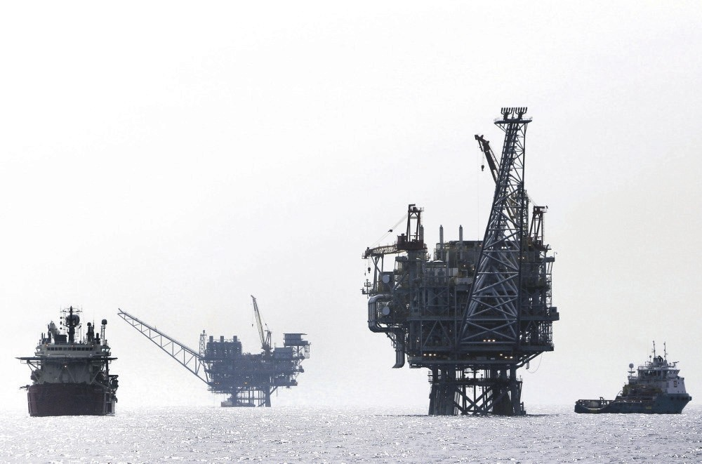 An Israeli gas platform controlled by a U.S.-Israeli energy group, in the Mediterranean Sea, west of Israel's port city of Ashdod, Feb. 25, 2013.