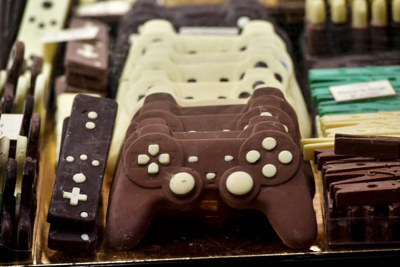 Chocolate-made creations representing game controllers are on display at the sixth Chocolate Fair in Brussels, on February 21, 2019.