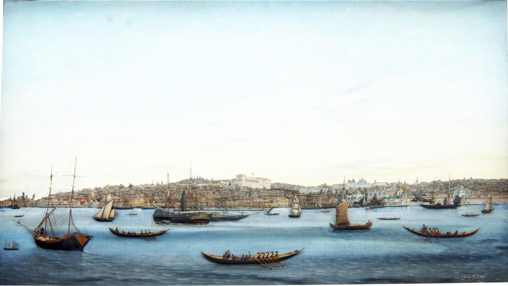 Mu0131gu0131rdiu00e7 Melkon, 19th century u201cThe Coastline from Tophane to Galata,u201d 1884 Wood and oil on canvas 60 x 93 x 7 cm / Naval Museum Collection