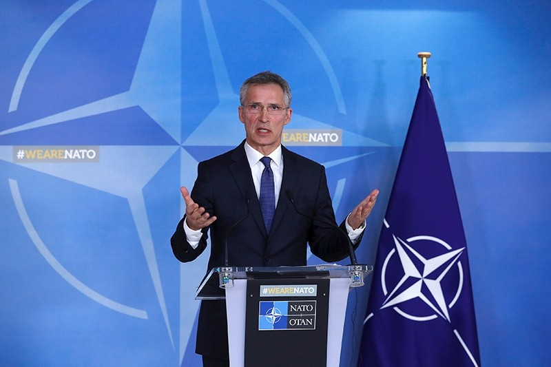 NATO Secretary-General Jens Stoltenberg addresses a news conference after a meeting of the Alliance's 29 ambassadors in Brussels, Belgium. (Reuters Photo)