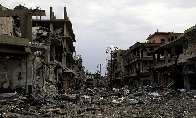 Damaged buildings in Raqqa, Syria, Oct. 28, 2017. (AFP Photo)