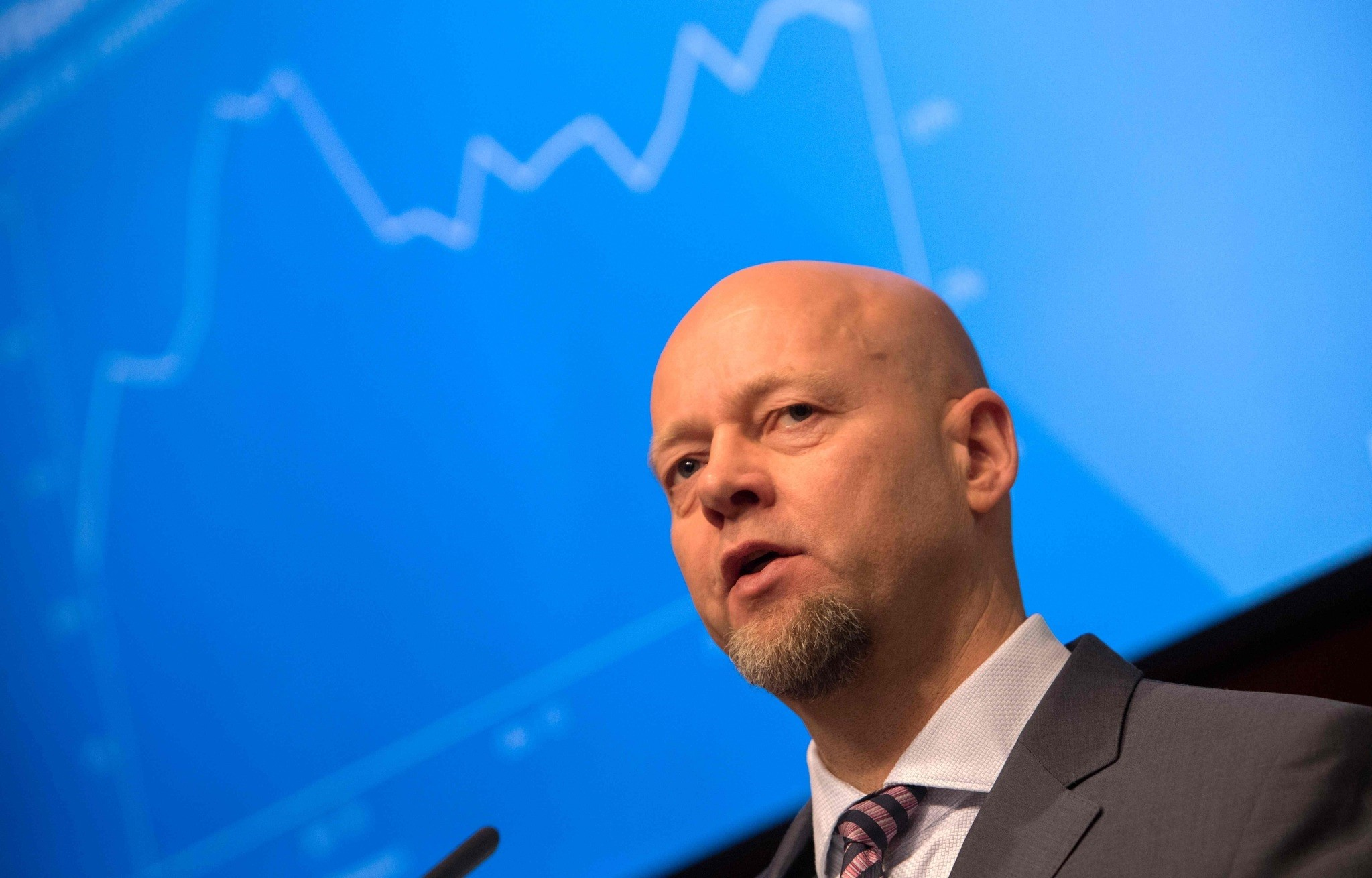 Yngve Slyngstad, CEO of Norges Bank Investment Management (NBIM), which is part of the Central Bank of Norway (Norges Bank), presents details from the annual report of the Norwegian Government Pension Fund in Oslo.