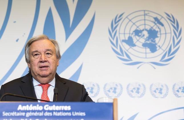 United Nations Secretary General Antonio Guterres presents his disarmament agenda at a public lecture at the University of Geneva, in Geneva, Switzerland, 24 May 2018. (EPA Photo)